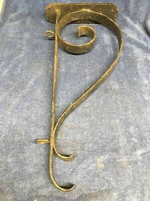 Vintage Wrought Iron Scroll Sign Bracket, Holder, 22 in.