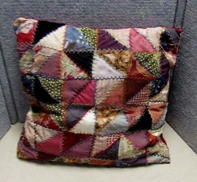 Antique Vintage Crazy Quilt Pillow
