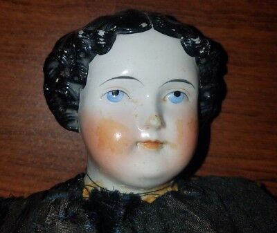 """Antique 1860's Flat Top/High Brow 23"""" China Doll with Kid Leather Body"""