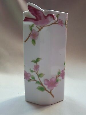 Attractive Vintage Ceramic Pink Bird And Flowers Themed Wall Pocket Vase