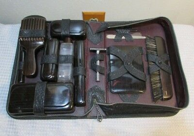 Vintage Leather Men's Travel Vanity Grooming Toiletry Kit Zipper Case Complete