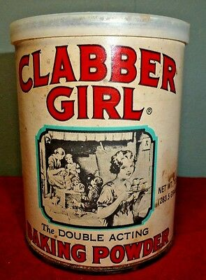 CLABBER GIRL Baking Powder 10 oz. Can with Paper Label and Lid