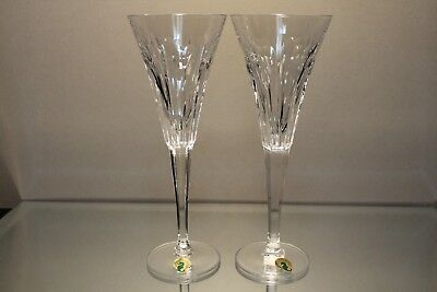 WATERFORD Millennium Love Toasting Flute Champagne Glass Crystal Hearts Set 2