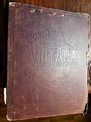 Large Cram's Unrivaled Family Atlas of the World, Indexed 1891 CP Gray