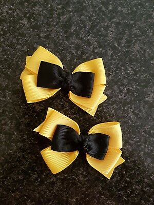 Madelienas  HAIR  CLIPS My Inspired Emma Wiggle Bow  grosgrain ribbons 1x pair