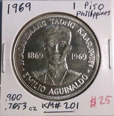 1969 1 Piso Philippines Silver Coin