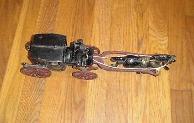 Antique cast iron horse drown carriage toy (not a repro)