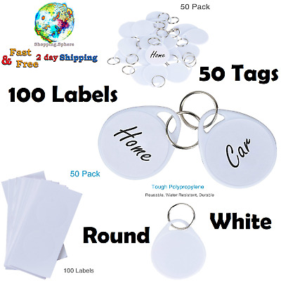 Round Plastic Key Tags Keychain Split Ring Label Home Office Chains 50 Pack New