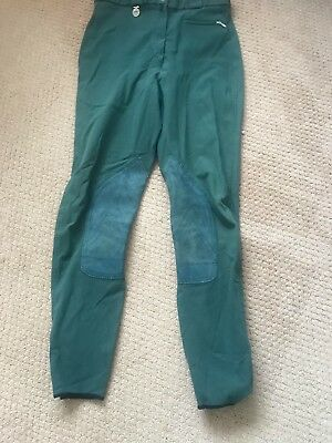Pickeur Women's Riding Breeches - Green, Suede Knee patches, Size GB 26""