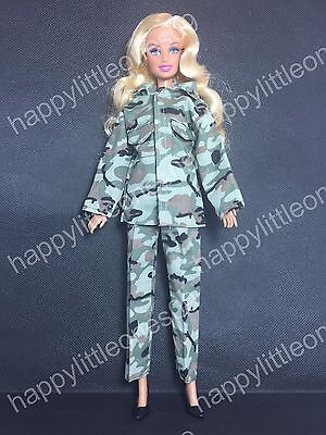 Barbie Doll Army Man Military Outfit Clothes Costume Dress with Shoes 100%New