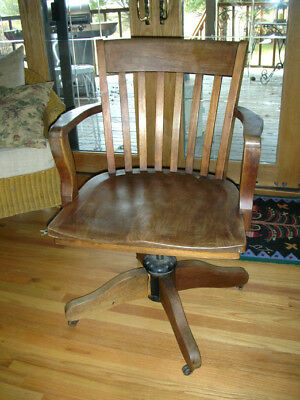 Vintage Office Chair Oak Lawyer Banker Court House