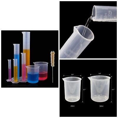 Clear Graduated Cylinder Plastic Labware Beakers Brush Science Lab Measuring Set