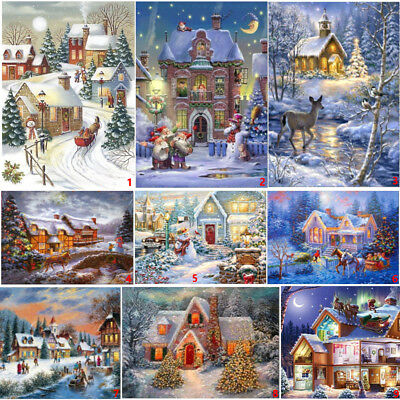 Full Drill Christmas Street DIY 5D Diamond Painting House Cross Stitch Kits Home