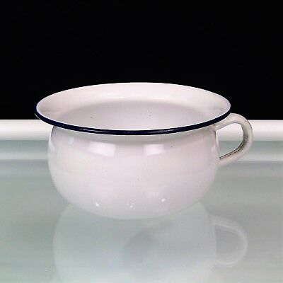 Vintage White Enamel Chamber Pot Potty Blue Trim DIY Flower Garden Display