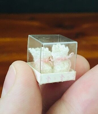 Vintage Dollhouse Miniature Baby Booties In Box Woven Knitted Pink