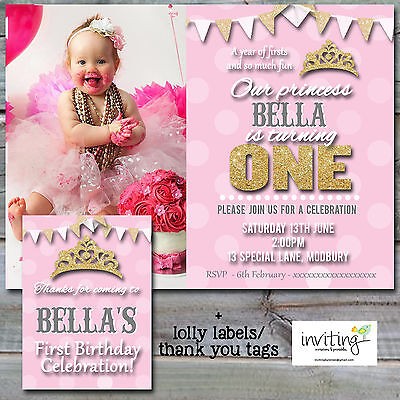 Girls Girl Princess Pink Gold 1st Birthday Invitation Invite Thank You