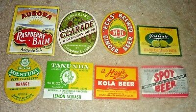 Collectable softdrink labels - Set of 8 assorted softdrink imperial labels MINT