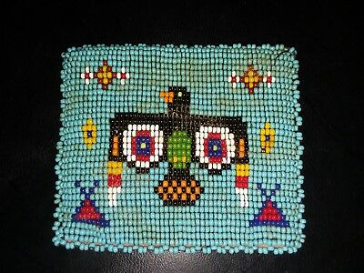 Vintage Native American Indian Beaded Leather Coin Purse- Phoenix TeePee Blue