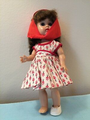 "Vtg 1950's Doll Clothes Sun Dress-Scarf-1 Shoe fits Ginny-Ginger or 7.5""-8"" Doll"