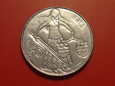 San Marino 50 Lire, 1973, Stylized standing figure with sword and scale , UNC
