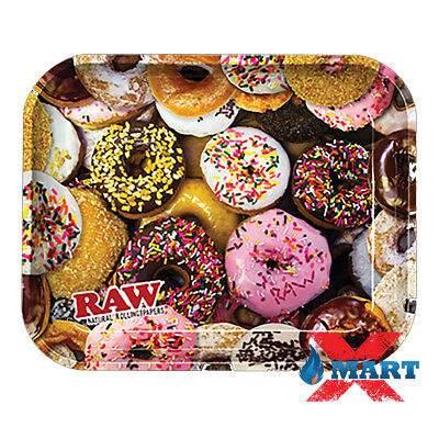 RAW DONUTS Cigarette Tobacco Metal LARGE Rolling Tray 14x11 DONUT