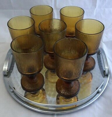 3 X Vintage Littala Frosted Amber Glass Goblets. Designed by Timo Sarpaneva