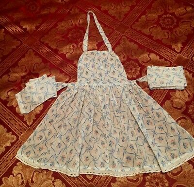 Vintage Early 1950s CHILDS APRON *Blue & White *Rhinestone Buttons *Long Ties