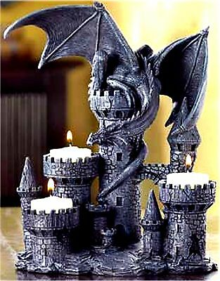Legendary Medieval Castle & Dragon Triple Tealight Candleholder ** Nib