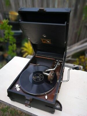 His Masters Voice HMV Antique Portable Wind Up 78 Gramophone Phonograph 1900's