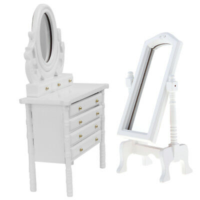 Bedroom Furniture Miniature Dressing Table Mirror White 1:12 Doll House