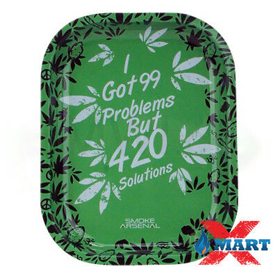 Smoke Arsenal 99 PROBLEMS Tobacco Metal Small Rolling Tray 7x5