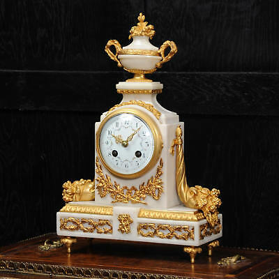 Antique French White Marble and Ormolu Boudoir Clock by Samuel Marti C1900