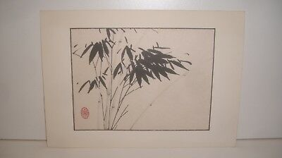 Asian Watercolor Original Chinese Painting of Bamboo on Rice Paper Artist stamp