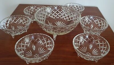 Retro 1950's / 1960's Vintage 7 Piece Footed Cut Glass Desert Set