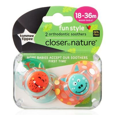 NEW Tommee Tippee Closer To Nature 18-36 Months Fun Soother 2 Pack