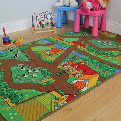 Fun Kid s Country Farm Life Mat Animal and Tractor Rug 100cm x 165cm 3ft 3  x 5f