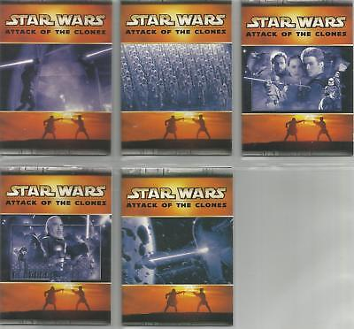 Star Wars Attack of the Clones - Panoramic Fold-Out Chase Card Set (5) - NM