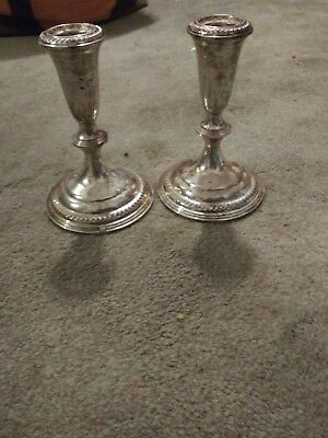 Vintage Empire Weighted Sterling Silver Candlestick Holders (Pair)