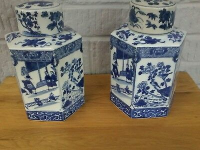 Pair Of Chinese Ginger Jars, Blue And White. Stunning Pair.  Height 22Cm.