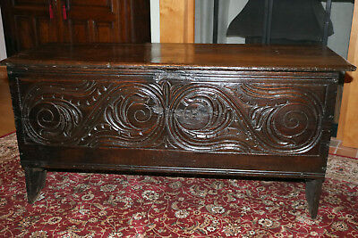 Antique plank chest coffer Bedding chest c1650/1680 Oak Seventeenth century