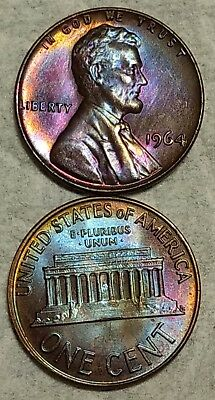 Pair of Gem Toned 1964-P Lincoln Cent! Gorgeous, matching end roll pieces!