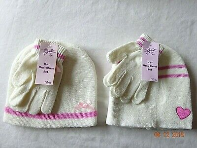 Girls Winter Knitted Cream Ivory Magic Hat & Gloves Pink Bow or Heart 2-12 Years