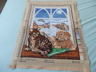 """Collection d'art Dog & Cat in window-snowy scene  completed tapestry -16"""" x 12"""""""