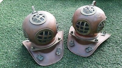 Vintage Brass and Copper  Pair of Diving Divers Helmet Scuba Navy