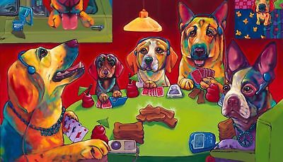 "16x24""Dogs Playing Poker Oil Painting HD Print On Canvas Wall Art/No Frame"
