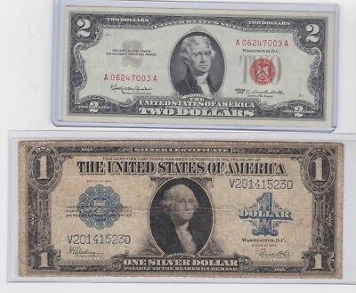 1923 $1 Silver Certificate Horse Blanket & 1963 $2 Red Seal  lot of 1 each