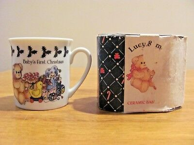 New In Box 1984 Enesco Lucy And Me Baby's First Christmas 2.5 Inch Ceramic Mug