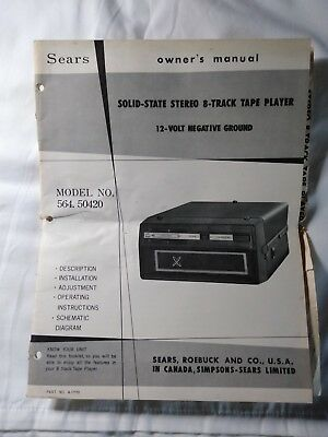 Sears, Roebuck and Co. Solid State Stereo 8-Track Tape Player Owners Manual Mode