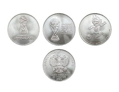 Russia, 25 rubles, 2018, 3 coins, FIFA World Cup 2018, Talisman, UNC, Auction
