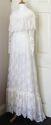 JACQUES HEIM Les Mariees French vintage lace wedding dress gown 60s 70s Size 38